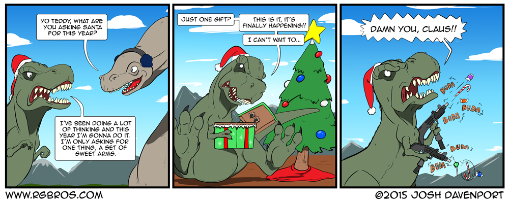 T. Rex gets a set of sweet arms for Christmas. by Josh Davenport