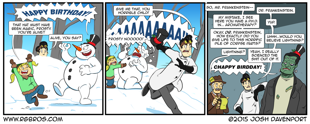 Frosty the Snowman loses his magic hat to Dr. Frankenstein by Josh Davenport