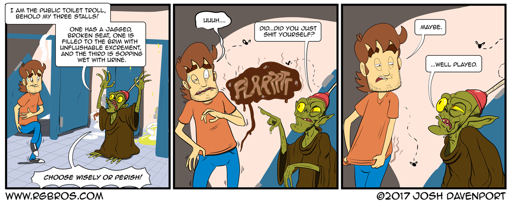 Reggie meets a troll in the public restroom. by Josh Davenport