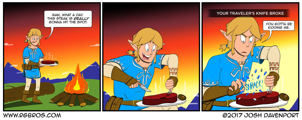 Link can't even enjoy his dinner. by Josh Davenport