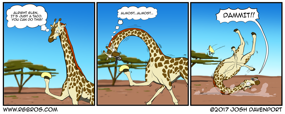 A giraffe attempts to eat a taco. by Josh Davenport