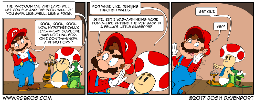 Mario looks for a lewd power-up. by Josh Davenport