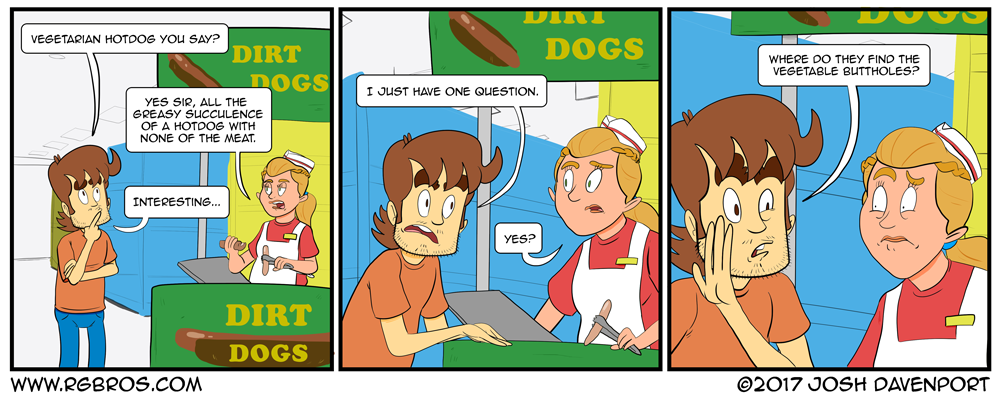 Reggie has a question about vegetarian hot dogs. by Josh Davenport