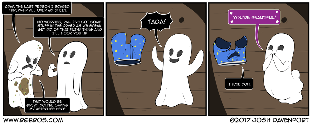 A ghost with a dirty sheet gets help from a friend. by Josh Davenport