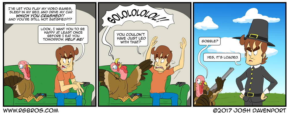 Reggie tries to make a turkey happy before Thanksgiving. by Josh Davenport