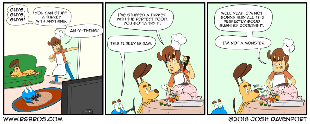 Reggie prepares a turkey dinner. by Josh Davenport