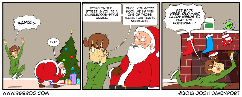 Reggie thinks Santa is a wizard. by Josh Davenport