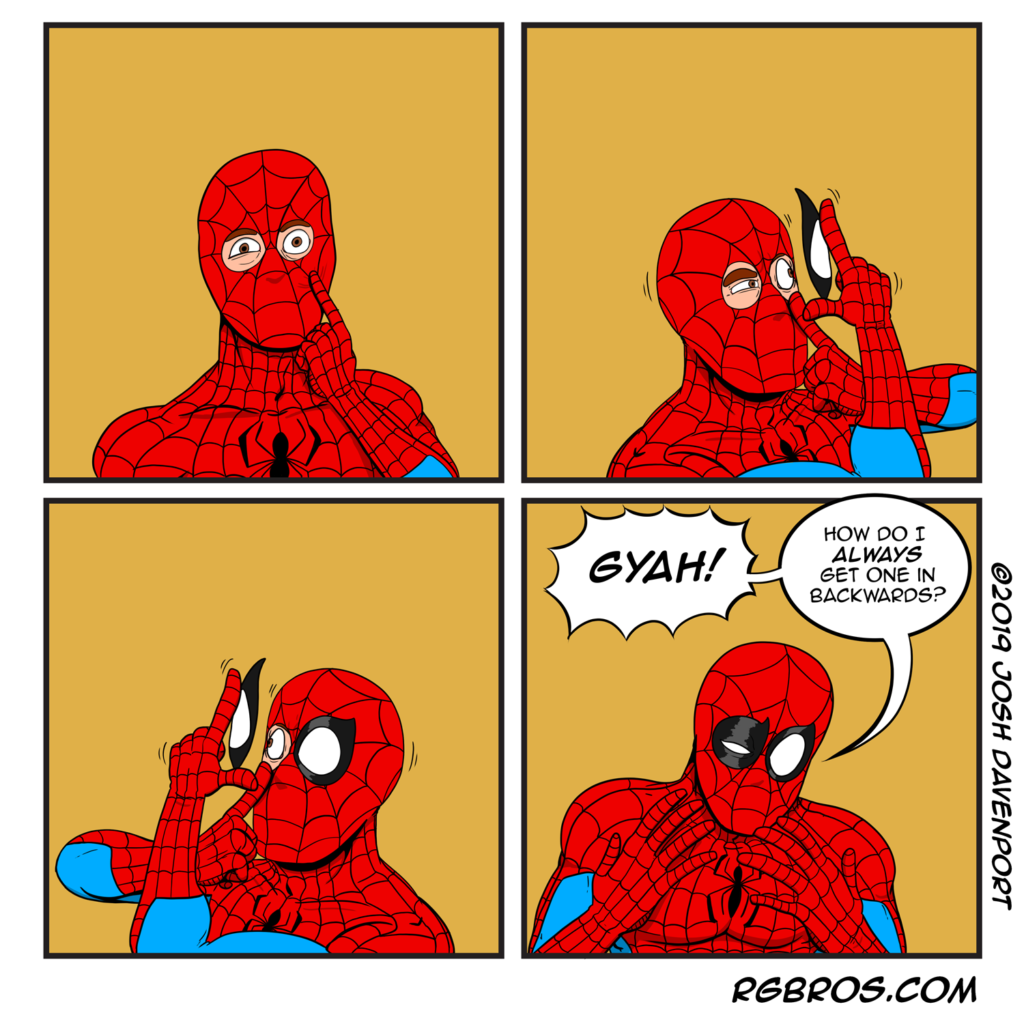 Spider-Man has a typical contact lens issue. He's just like us! by Josh Davenport