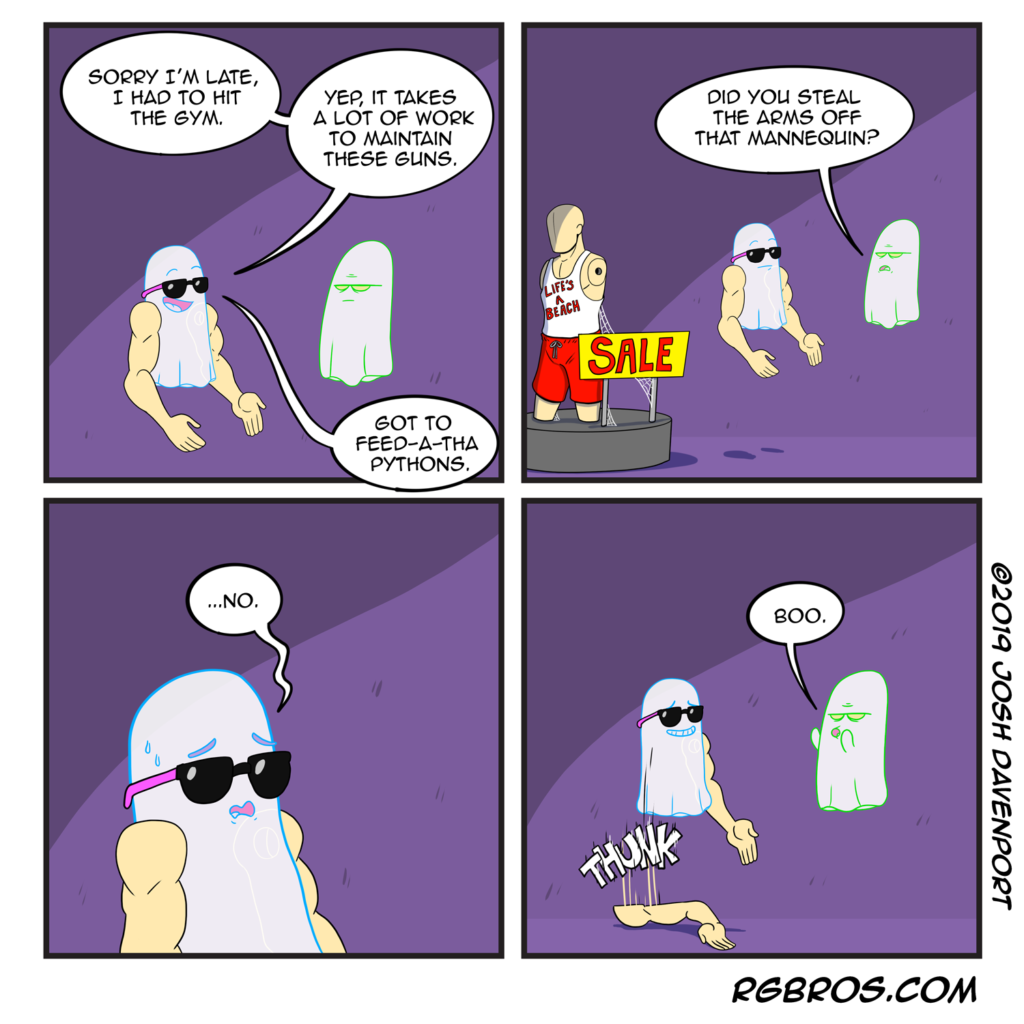 RGBros comic where a ghost tries to pass mannequin arms off as sick gains. by Josh Davenport