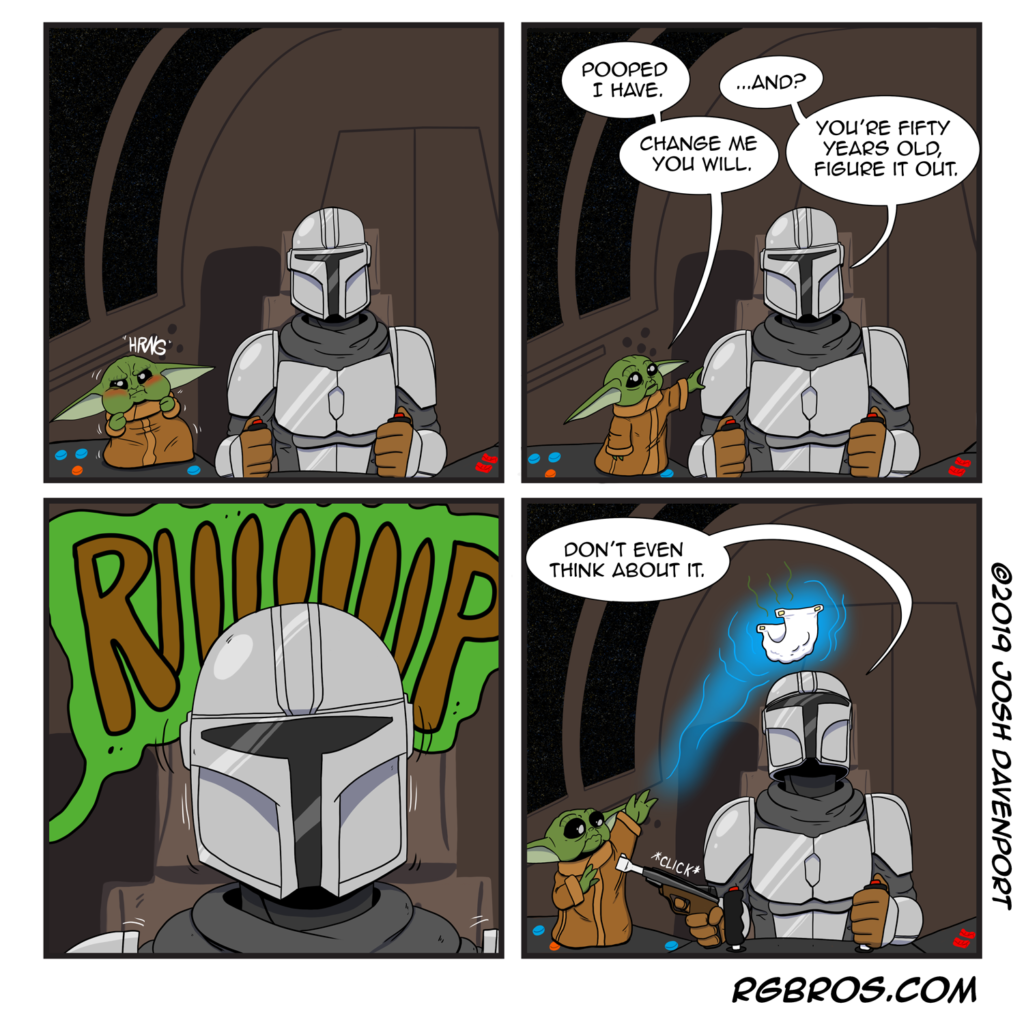 RGBros comic where the Mandalorian learns to live with a baby Yoda. by Josh Davenport